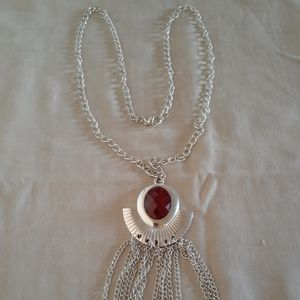Jewelry - VTG: stainless Ruby necklace